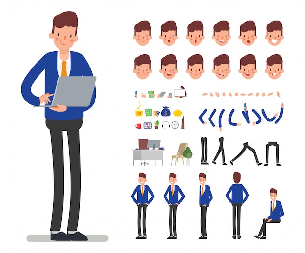 Bank staff manager karakter voor animatie mond.