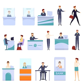 Bank teller iconen set, cartoon stijl Premium Vector