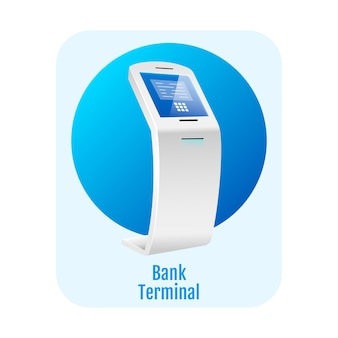 Bank terminal platte concept. financiële zelfbedieningskiosk.