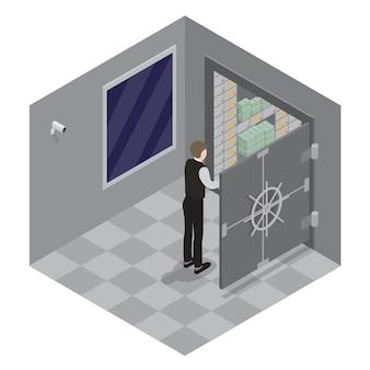 Bank veilig. open de deur van de bankkluis. bank kluis. bankier opent de kluis met geld. isometrische bank.