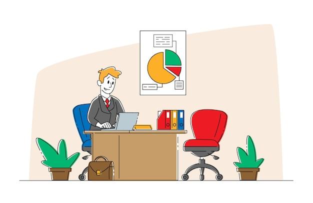 Bank werknemer mannelijke karakter dragen formele pak zit aan bureau