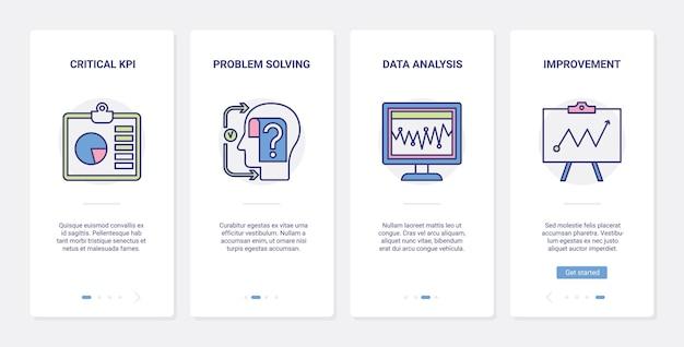 Bankanalyse financiële datatechnologie, ux, ui onboarding mobiele app-paginaschermset