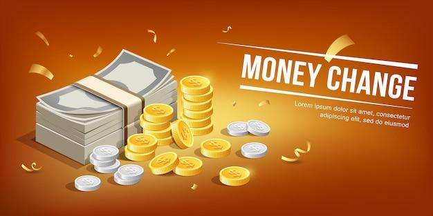 Bankbiljet en gouden munten met zilveren munten