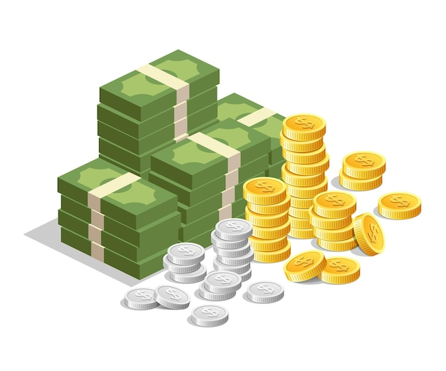 Bankbiljetgeld met gouden munten en zilveren munten