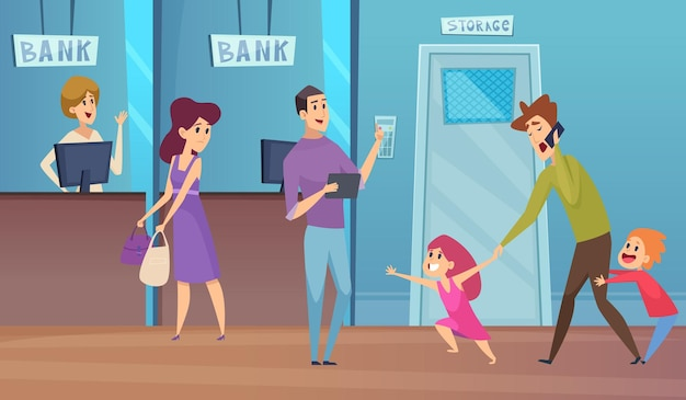 Bankdienst. drukke vader en kinderen, financiële conculting vectorillustratie. klant bezig met stoute dochter en zoon, zakelijke receptie bank