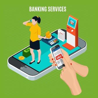 Bankdiensten isometrische samenstelling