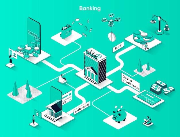 Bankdiensten isometrische webbanner platte isometrie