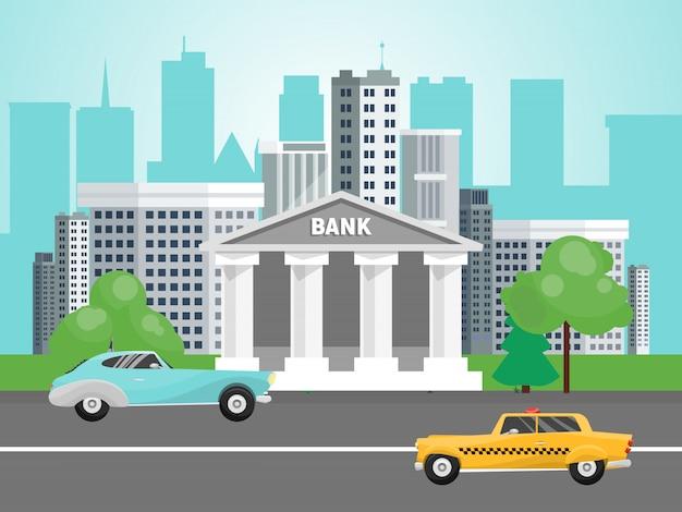 Banken die op stedelijk stratenlandschap voortbouwen. bankgebouwen op stadsgezicht. overheid architectuur huis