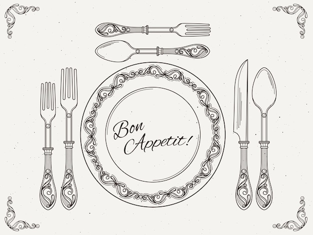 Banket servies. vintage gerecht met lepel, vork en mes. symbolen van het eten op retro vector poster