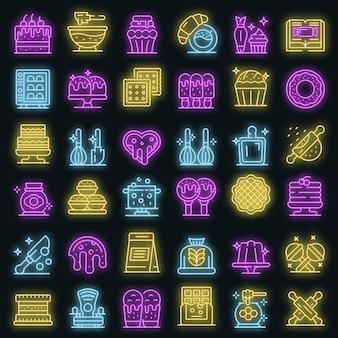 Banketbakker pictogrammen instellen. overzicht set van banketbakker vector iconen neon kleur op zwart