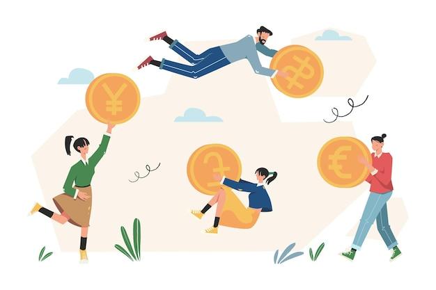 Bankfinanciering, geld wisselen, financiële diensten, geldautomaat, geld uitgeven