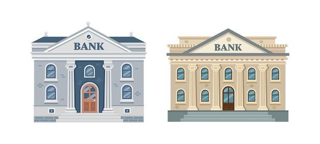 Bankgebouw geïsoleerd op witte achtergrond klassieke architectuur met kolommen