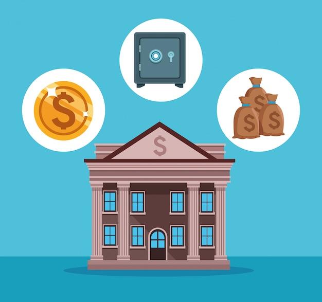 Bankgebouw met geldsymbolen