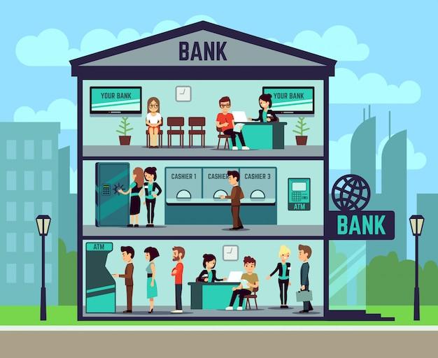 Bankgebouw met mensen en bankmedewerkers in de kantoren. banken en financiën vector concept