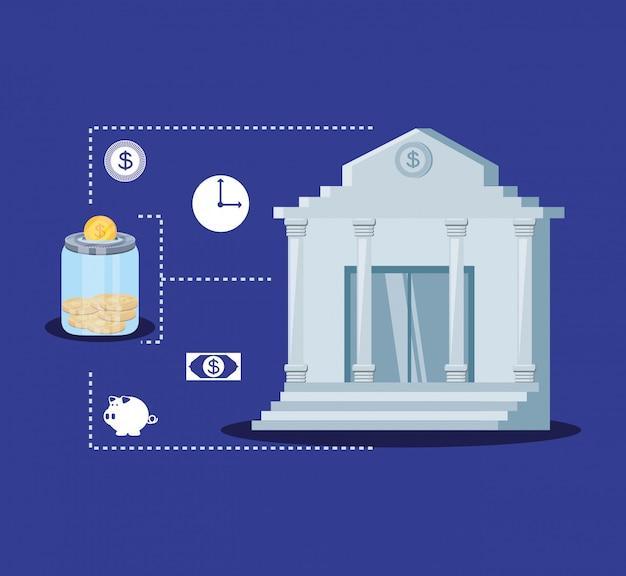 Bankgebouw met set pictogrammen economie financiën