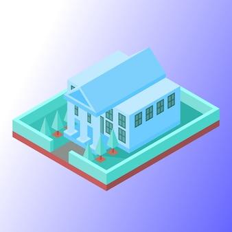 Bankgebouw met zacht gekleurd
