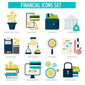 Bankieren geld financiële diensten set credit teken ontwikkeling online accumulatie en bank investment management service