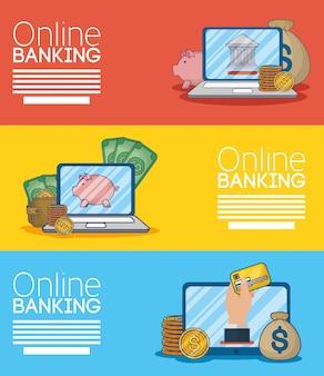 Bankieren van online technologie met elektronische apparaten