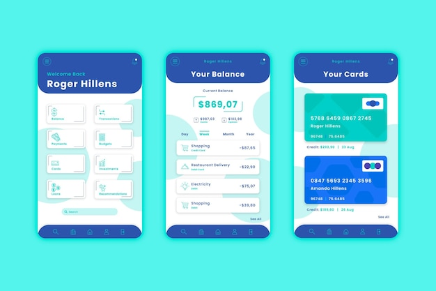 Banking app interface sjabloonpakket