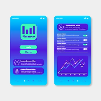 Banking app interface sjabloonverzameling
