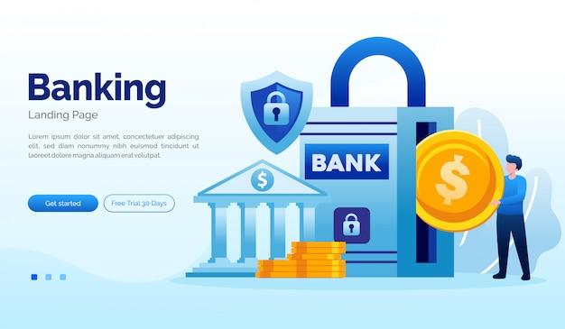 Banking deposit bestemmingspagina website illustratie plat sjabloon