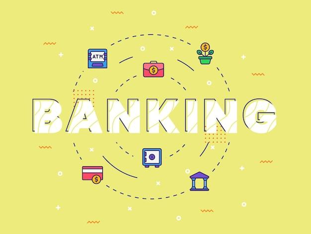 Banking typografie kalligrafie woordkunst met gevulde kleurstijl
