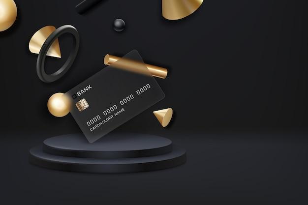 Bankkaart met glaseffect met vloeiende realistische geometrie-elementen op donkere achtergrond