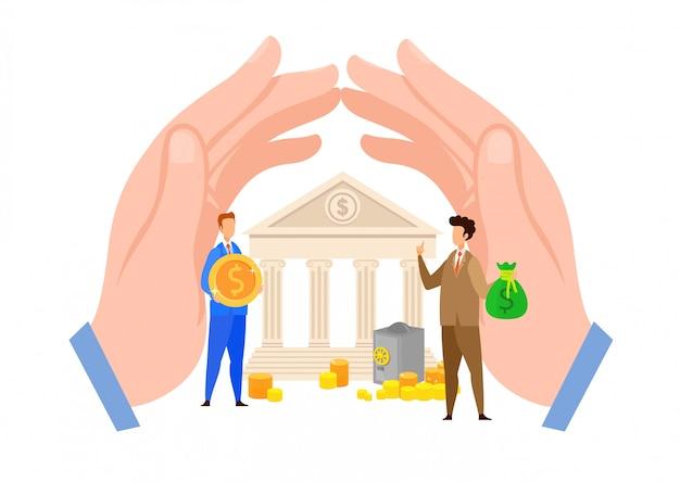 Bankkrediet, leningbetaling vlakke vectorillustratie