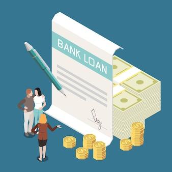 Banklening rentetarief isometrische samenstelling met bankbiljetten munten stapels overeenkomst ondertekening achtergrond