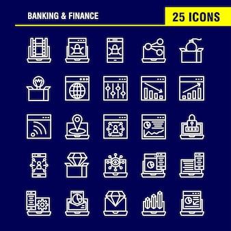 Banklijnpictogrammenpakket voor ontwerpers en ontwikkelaars. pictogrammen van bank, bankieren, internet, internetbankieren, laptop, beveiliging, vergrendelen,