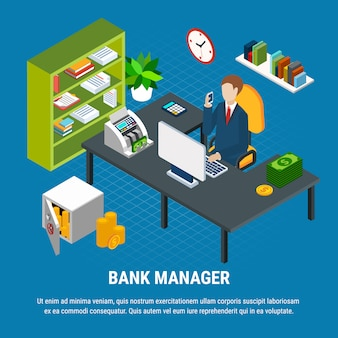 Bankmanager isometrische samenstelling