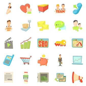 Bankrekening iconen set, cartoon stijl