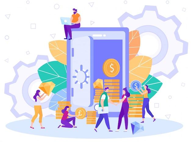 Bankstorting en strongbox-dienst vlakke vector