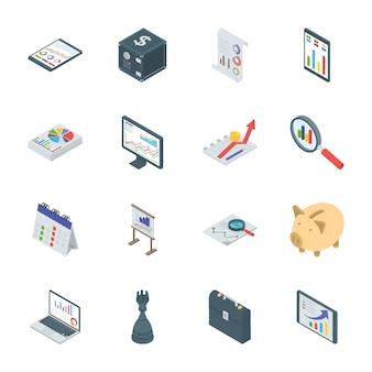 Bankwezen en financiën isometrische pictogrammen