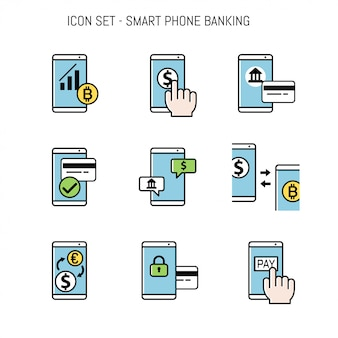 Bankwezen icon collection set voor ontwerp