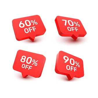 Banner 60 70 80 90 korting met aandelenkortingspercentage. vector illustratie