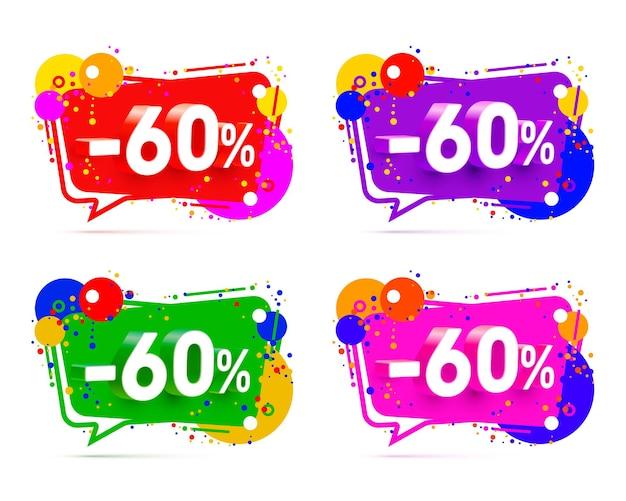 Banner 60 korting met aandeel kortingspercentage, kleurset. vector illustratie