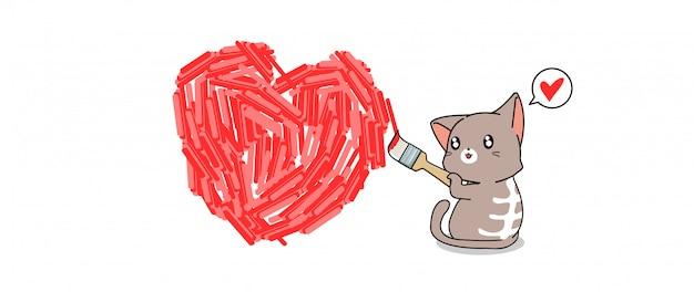 Banner aanbiddelijke kat schildert hart op de muur voor liefdedag
