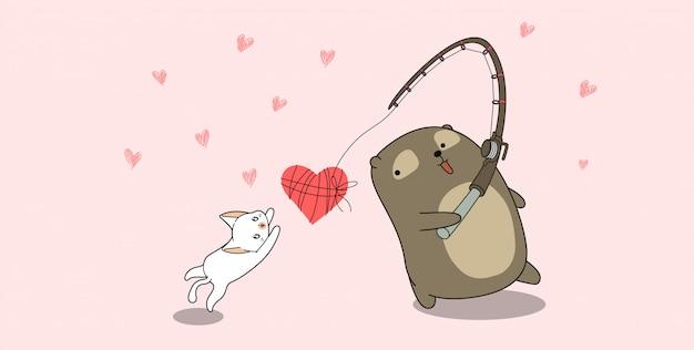 Banner beer en kat vissen liefde op roze achtergrond