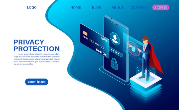 Banner beschermt gegevens en vertrouwelijkheid op mobiel. privacybescherming en beveiliging