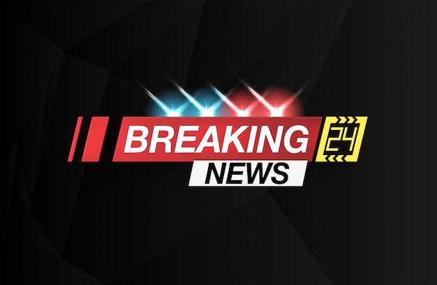 Banner breaking news, belangrijk nieuws, krantekop in de vorm van opvlammende lichtenpolitie. vect