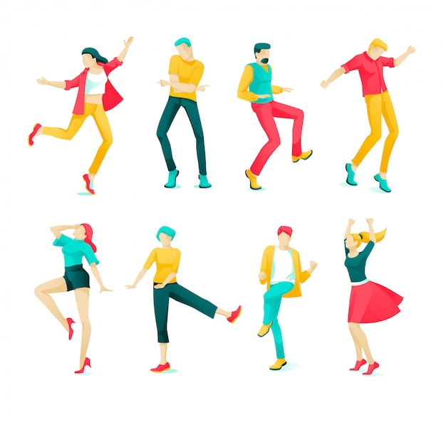 Banner collection dancing people cartoon flat.