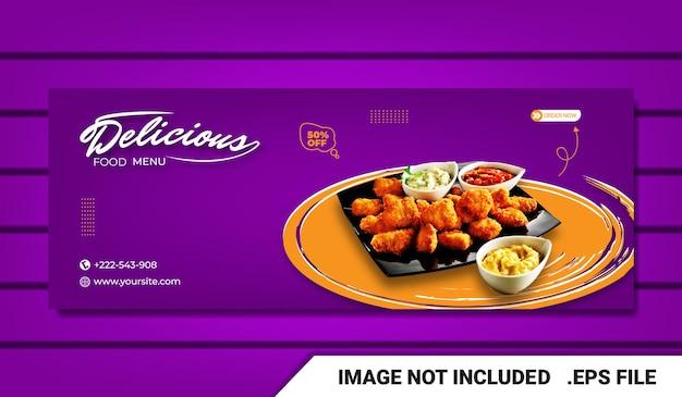 Banner eten menu en restaurant facebook voorbladsjabloon