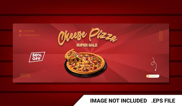 Banner eten menu facebook voorbladsjabloon met teksteffect bewerkbaar