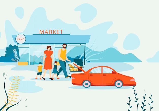 Banner familie koopt boodschappen in supermarkt plat.