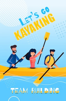 Banner flat lets go kayaking team building cartoon