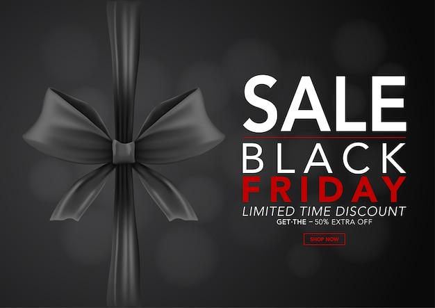 Banner glanzende zwarte linten met tekst zwarte vrijdag verkoop