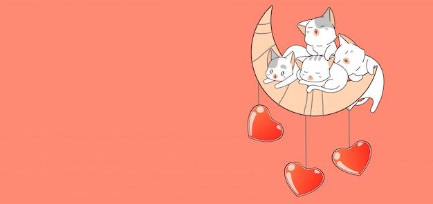 Banner hand getekend kawaii kat karakter met hartjes op de maan