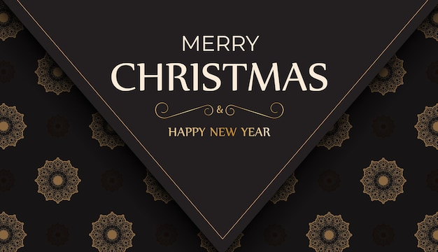 Banner happy new year en merry christmas in zwarte kleur met winterpatroon.