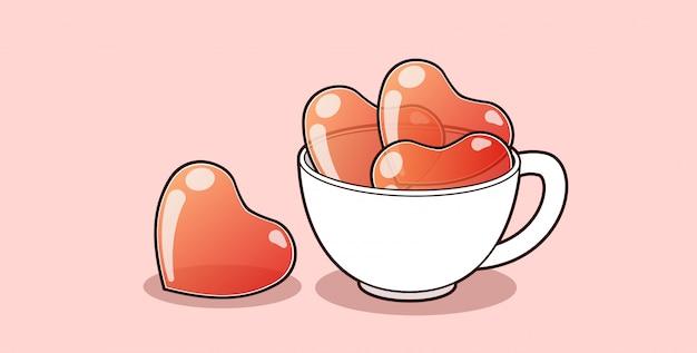 Banner harten in de beker voor valentijnsdag